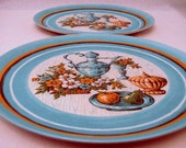 Aqua Melmac Autumn Harvest Dinner Plates Mid century Kitchen from Oneida