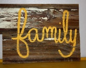 Family Thanksgiving Holiday Decor Reclaimed Barn Wood Sign Mustard Autumn Eco Friendly