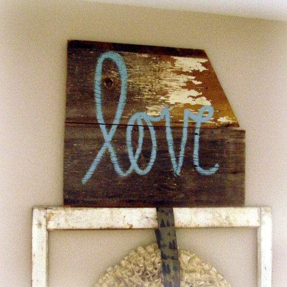 Barn Wood Love Sign Turquoise Spring Decor Reclaimed And