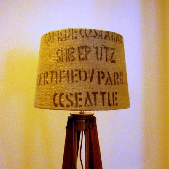 Recycled Coffee Sack Lamp Shade Burlap Industrial Home Decor