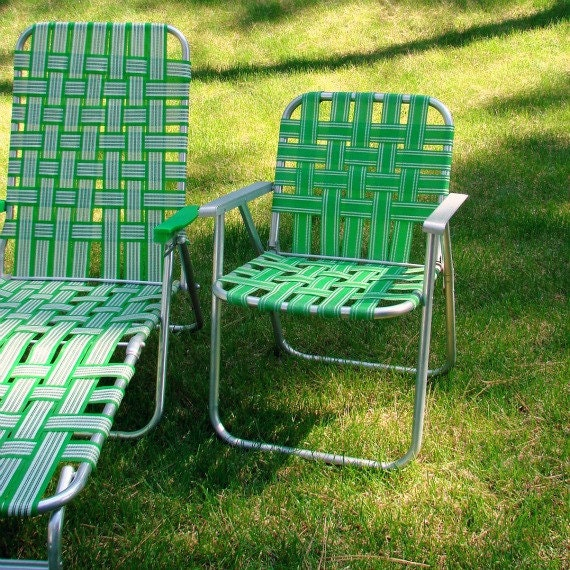 vintage webbed lawn beach chair folding aluminum bright green