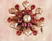 Vintage Pink Rhinestone and Pearl Plastic Flower Brooch