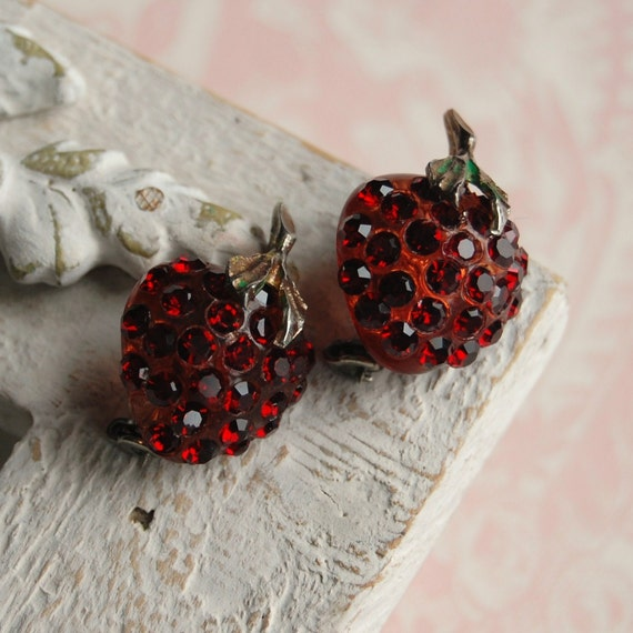 Two Vintage Strawberry Brooches