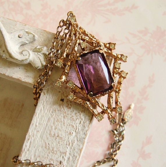 """Vintage """"Twilight"""" Amethyst and Rhinestone Sarah Coventry Necklace"""