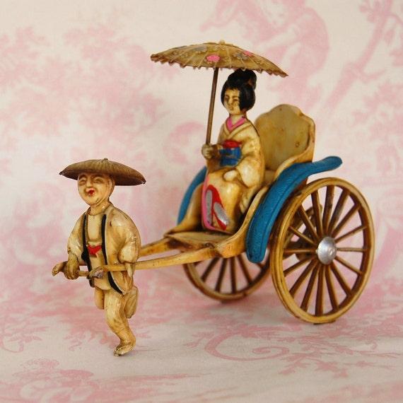 Vintage 1950s Miniature Rickshaw and Geisha Figurine