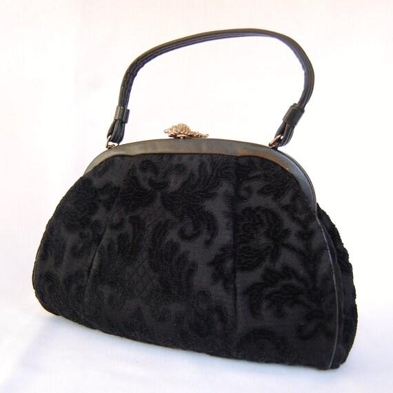 Vintage 1950s Seashell and Black Tapestry Handbag