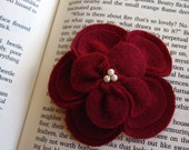 Lucy- Large Blood Red Recycled Felt Flower Hairclip