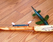 Unique Handcrafted Spearing Decoy Jigging Stick...Personalized Hand Woodburned Grip...Great Christmas Idea