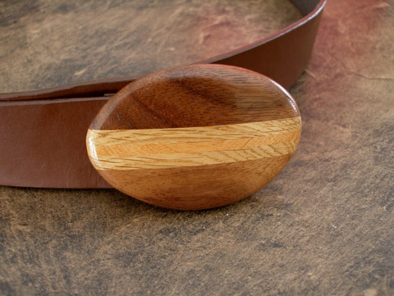 Oval Hand Carved Natural Walnut Wood Belt Buckle with White Oak and Cherry Inlays THINK Christmas