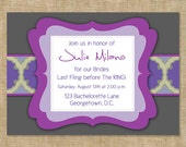 Purple Mix Modern Bachelorette Party Invitations (digital file) DIY Printing at home or your choice of printer