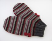 Felted Wool Sweater Mittens Fleece Lined Red and Gray Multicolored Stripe