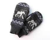 Mens Wool Mittens from Recycled Sweaters Fleece Lined Navy and Olive
