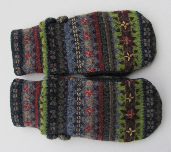 Wool Mittens from Felted Sweaters Fleece Lined Navy Multi Colored ...