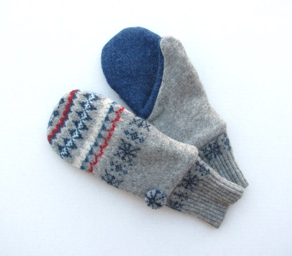 Wool Mittens From Recycled Sweaters Fleece Lined Gray Blue and Red Fair Isle