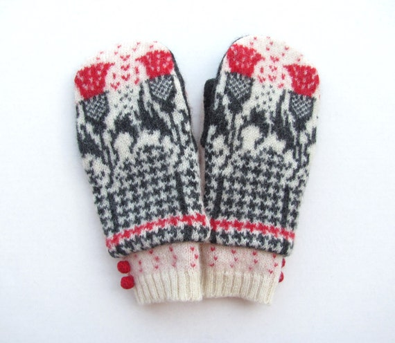 Felted Wool Mittens from Recycled Sweaters Fleece Lined Black and Red Fair Isle