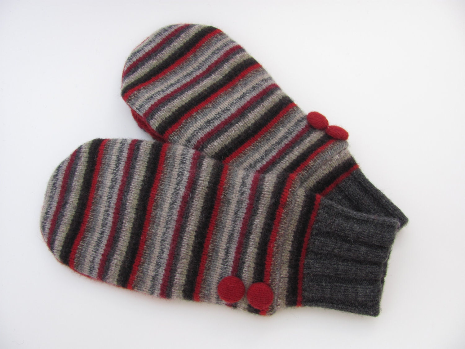 Felted wool sweater mittens fleece lined red and by jmariecreates