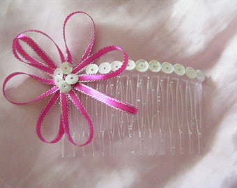 Hot pink and silver rosette hair comb