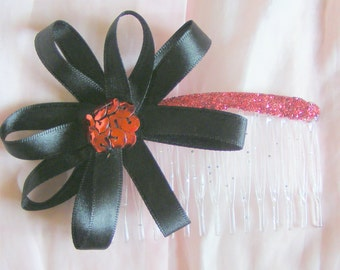 Black and red rosette hair comb