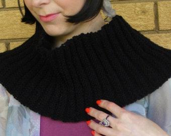 Black ribbed knit cowl