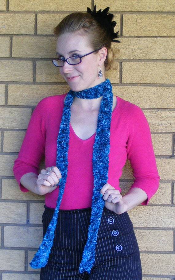 Teal feathered scarf