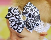 baby hair bow for girls..black damask boutique hair bow  ribbon Clip...infant headband...great hairbow for newborn, toddler and little girls