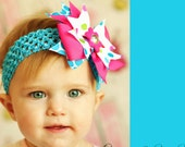 baby hair bow...boutique ribbon hairbow  Clip ...infant headband...pink/turquoise hair bow... newborn, toddler and little girls..Easter