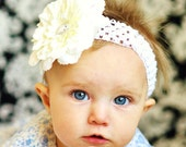 baby bow...flower hair bow clip...  infant headband... hairbow for newborn, toddler and little girls...flower hair bow...baby headband