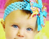 big baby hair bow...turquoise  boutique hairbow/newborn headband/baby bow newborn, infant, toddler and little girls hair bow