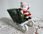 Santa on Sled Collectible Napco Vintage 1960s