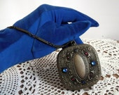 Victorian Compact Wrist Purse Etched Brass and Gemstones ~ Price Reduction