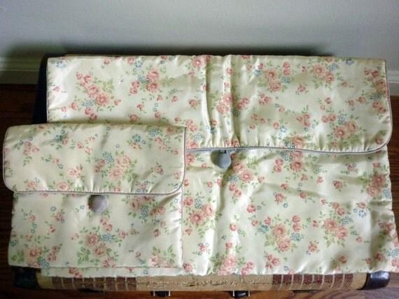Vintage 1960s Lingerie Bag Set Travel Organizers Floral Print