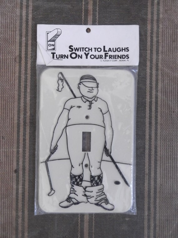 Vintage 1970s Flasher Golfer Switchplate Switch to Laughs Deadstock New