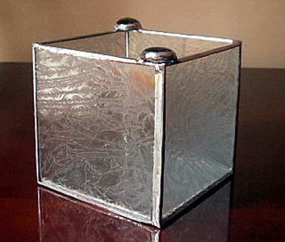 """Handcrafted Multi-Functional Stained Glass Cube - 4"""" x 4"""""""