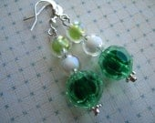 Earrings - Green and Blue Beads