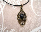Black Rhinestone Antiqued Bronze Necklace