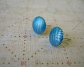 Bright Blue Fabric Cloth Button Earrings, Light Blue Earrings, Blue Cloth Earrings