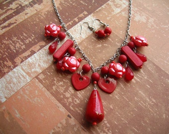 Bright Red Beads Necklace & Earnings