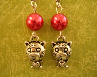 Earrings With Little Tiger and Red Glass Pearl, Tiger, Red Jewelry, Animal Earrings, Animal Jewelry