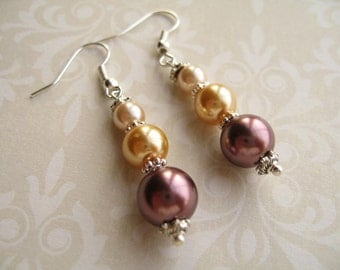 Pearl Earring - Maroon Golden Yellow and Light Peach Color