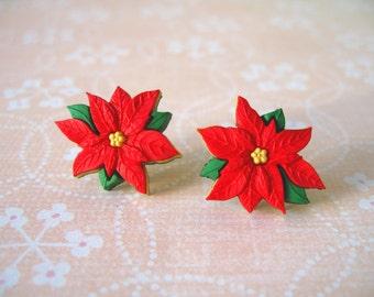 Flower Earrings, Buttons Earrings, Christmas Jewelry, Flower Jewelry, Christmas Earrings