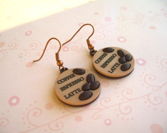 Coffee Beans Earrings,  Coffee Beans Jewelry, Coffee Earrings, Coffee Jewelry