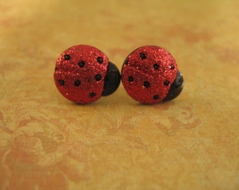 Laybugs Earrings,  Red Ladybugs, Sparkling Red Black Ladybugs Buttons Earrings - 12mm