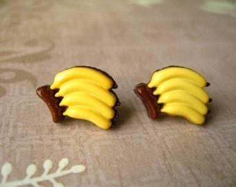 Banana Earrings, Banana Post Earrings, Banana Stub