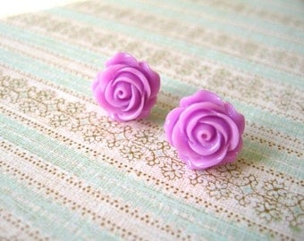 Purple Rose Earrings, Rose Flower Earrings, Purple Jewerly