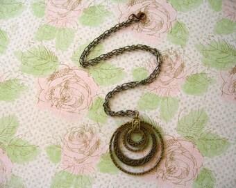 Antiqued Bronze Necklace,  Round Antiqued Bronze Necklace