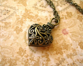 Heart Necklace, Antiqued Bronze Heart Necklace,  Heart Antiqued Bronze Necklace