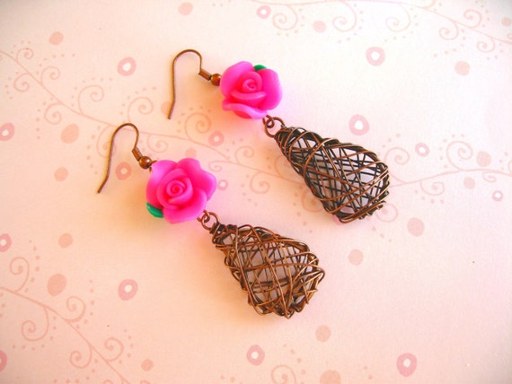 Clay Flower Earrings, Wire Earrings, Clay Jewelry, Flower Jewlery, Wire Jewelry