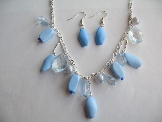 Blue Beads Necklace, Blue Earrings, Blue Jewelry, Blue Necklace, Bead Necklace - Sale