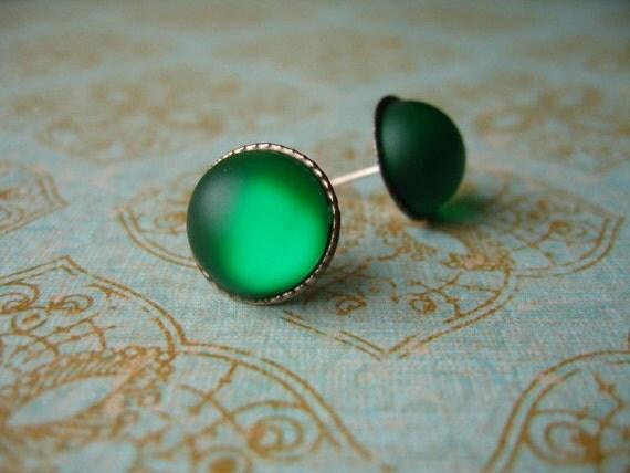 Green Rhinestone Post Earrings, Green Earrings, Green Jewlery, Green Post Earrings