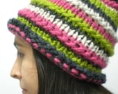 Knit Ski Hat Chunky, Stripes, Winter, Bright Pink, Green, Gray and Cream